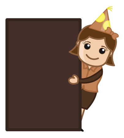 Party Girl Presenting Blank Banner - Cartoon Business Character Vector