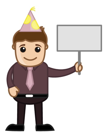 Party Man with Blank Banner - Cartoon Business Character Vector