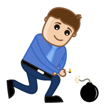 Man Lit Bomb - Cartoon Business Character Vector