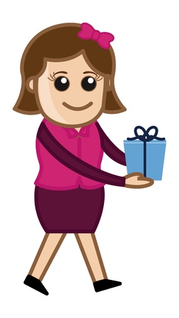 Girl Holding Gift - Cartoon Business Character Illustration