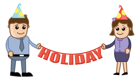 Office Holiday - Cartoon Business Characters Vector