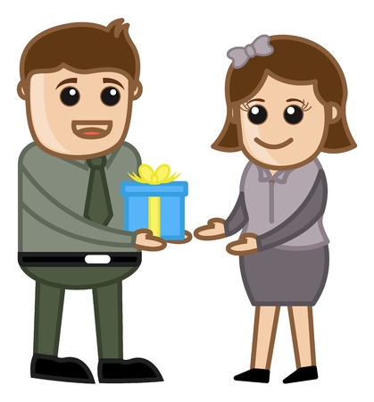 engagement cartoon: Man Giving Present and Gift Box - Cartoon Business Characters