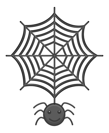 spider  net: Spider and Web Cartoon Vector Illustration