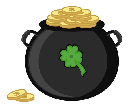Cauldron on St  Patrick s Day Vector Illustration Vector