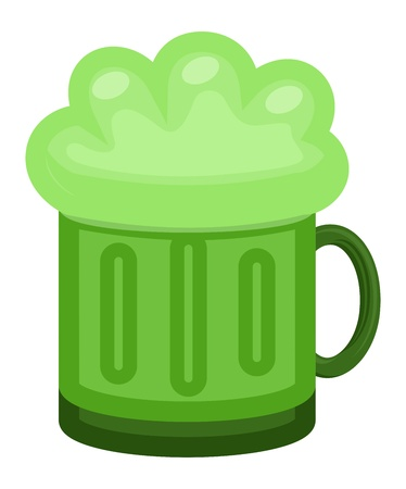 alehouse: Green Beer Mug Cartoon Illustration on St  Patrick s Day