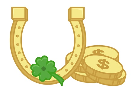 Gold Horseshoe, Coins and Clover Leaf on St  Patrick s Day Vector