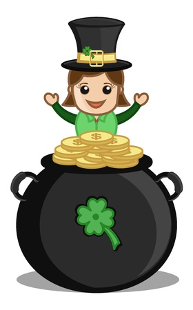 Cute Female Leprechaun with Gold Coins Cauldron - Cartoon Business Characters Vector