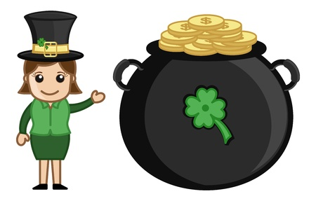 St  Patrick s Day Fortune - Cartoon Business Characters Vector