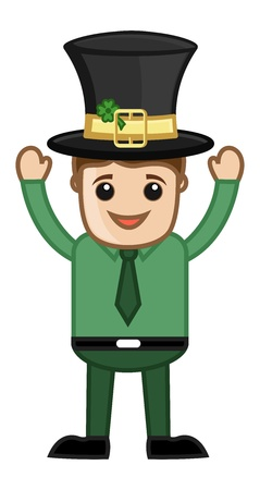 Happy Cute Cartoon Leprechaun - Cartoon Business Characters Vector