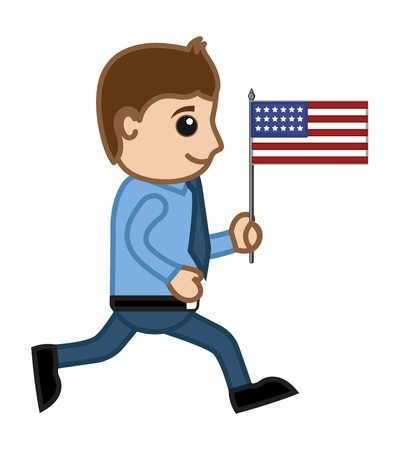 Patriotic Man Running with USA Flag - Cartoon Business Characters Vector