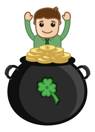 Man with Cauldron on Patrick s Day - Cartoon Business Characters Vector