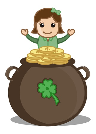 Lady with Cauldron Treasure - Cartoon Business Characters Vector