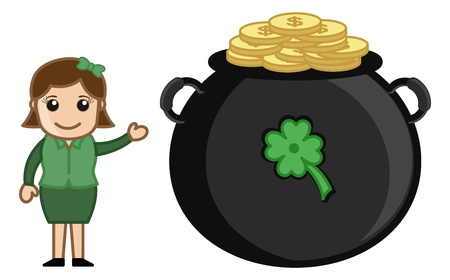 Girl with Cauldron on St  Patrick s Day - Cartoon Business Characters Vector