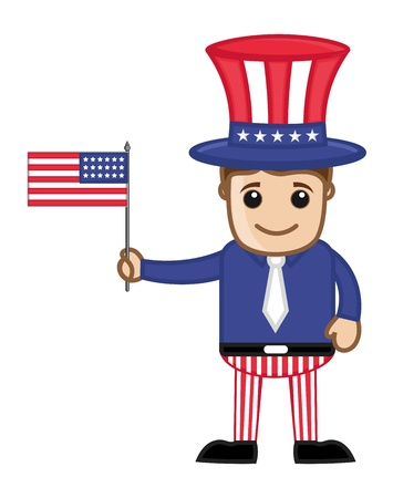 Uncle Sam Holding USA Flag on 4th of July - Cartoon Business Characters Vector