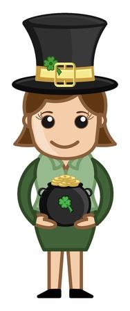 female leprechaun: Female Leprechaun with St  Patrick�s Day Cauldron - Cartoon Business Characters