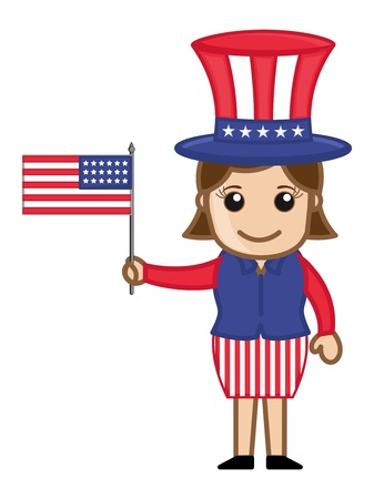 Woman Wearing 4th of July Costume as Uncle Sam - Cartoon Business Characters Vector
