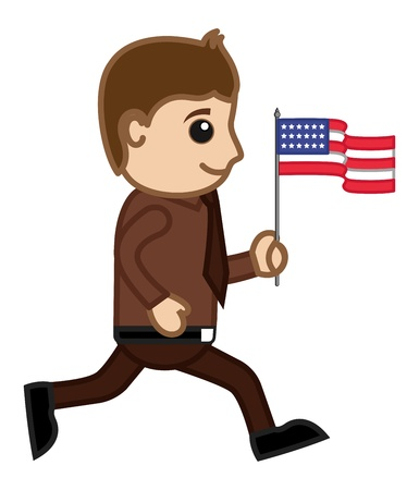 Patriotic Man on Independence Day - Cartoon Business Characters Vector