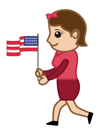 Patriotic Lady with USA Flag on 4th of July - Cartoon Business Characters Vector