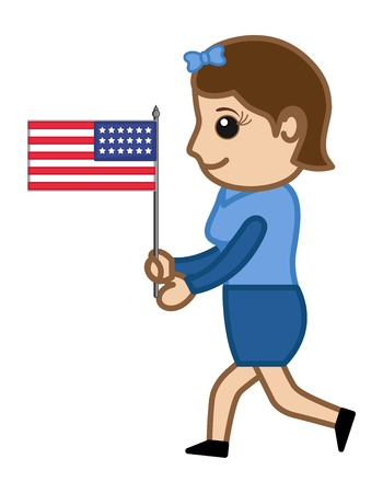 Woman Running with US Flag - Cartoon Business Characters Vector