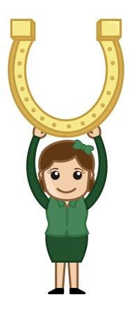 golden horseshoe: Lady Holding Golden Horseshoe - Cartoon Business Characters