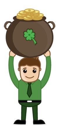 st  patrick's day: Man Holding Cauldron on St  Patrick s Day Illustration