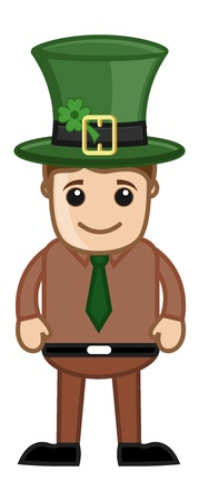 Man with Leprechaun Hat on St  Patrick s Day - Cartoon Business Characters Vector