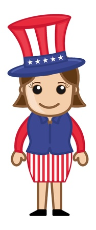 Uncle Sam - Lady - Cartoon Business Characters Vector