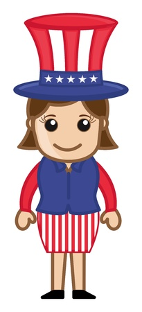 uncle sam: Lady Wearing Uncle Sam Costume - Cartoon Business Characters Illustration