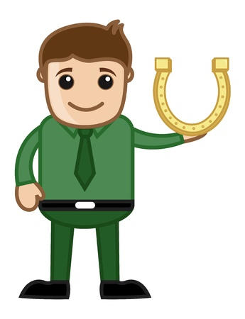 lucky man: Man Presenting Lucky Horseshoe on St  Patrick s Day - Cartoon Business Characters Illustration