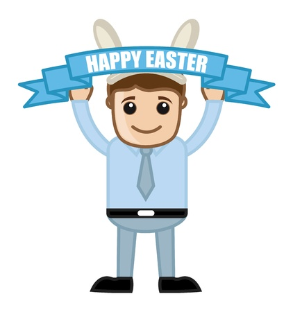 Happy Easter Celebration - Cartoon Business Characters Vector