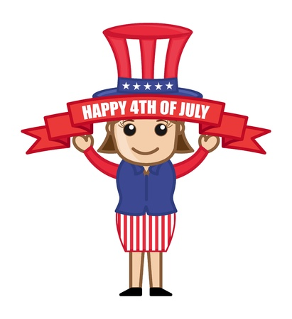 Happy 4th of July - Cartoon Business Characters Vector