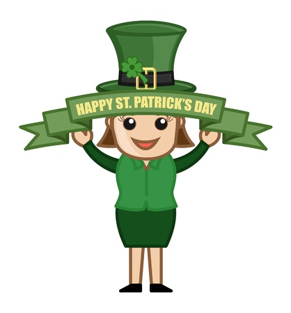 Happy St  Patrick s Day - Cartoon Business Characters Stock Vector - 21192396