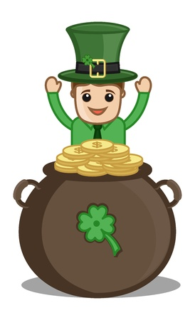 Happy Leprechaun with Gold Coins Cauldron - Cartoon Business Characters Stock Vector - 21192399