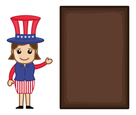 4th of July Banner - Business Cartoon Characters Vector