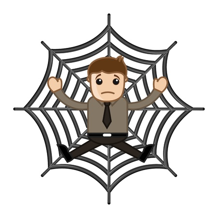 Man Stuck in Spider Web - Business Cartoon Characters Vector