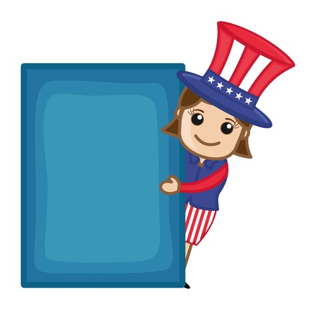 Uncle Sam Girl with Blank Banner - Business Cartoon Characters Vector