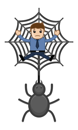 Trapped in Spider Web - Business Cartoon Characters Vector