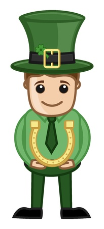 Leprechaun with Lucky Horseshoe - Business Cartoon Characters Vector