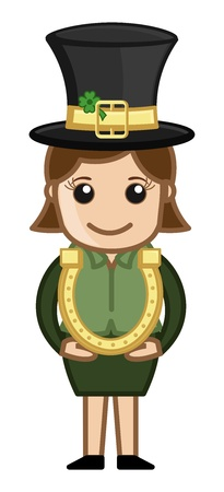 Leprechaun Girl with Golden Horseshoe - Business Cartoon Characters Vector