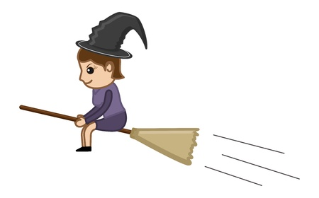 hag: Witch on Broom - Business Cartoon Characters