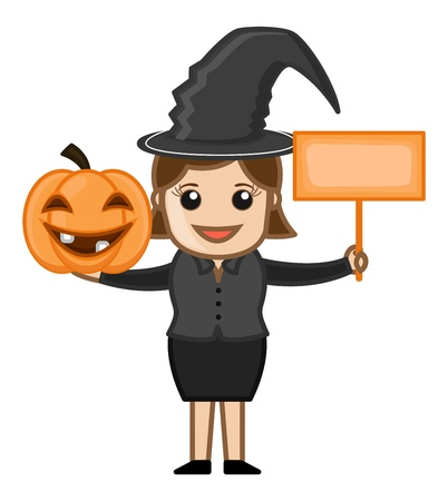 Happy Halloween - Witch - Business Cartoon Characters Vector
