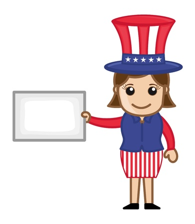 Lady on 4th of July - Business Cartoon Characters Vector