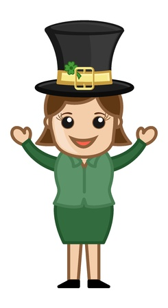 Happy Girl on St  Patrick s Day - Business Cartoon Characters Vector
