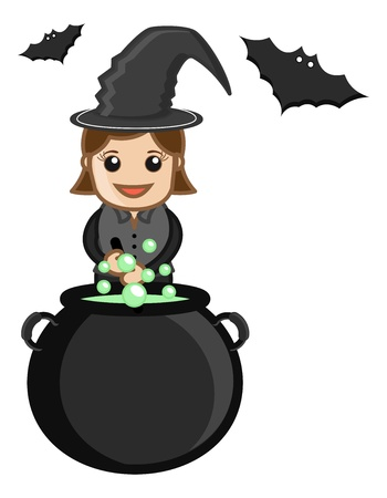 Cute Halloween Witch Cooking - Business Cartoon Characters Illustration