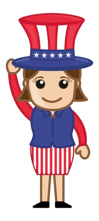 Cute Female Uncle Sam Character - Business Cartoon Characters Vector