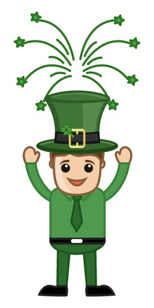 Happy St  Patrick�s Day Leprechaun - Business Cartoon Characters Vector