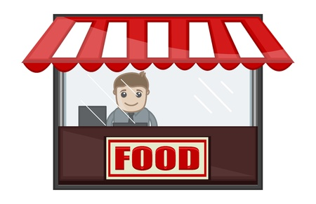 Food Shop - Cartoon Business Vector Character Vector