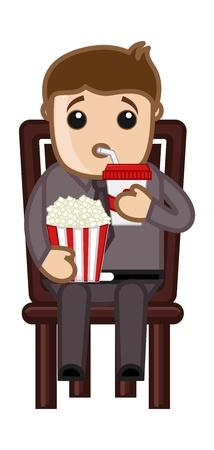Man Having Fast Food - Cartoon Business Vector Character Vektoros illusztráció
