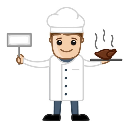 Cook with Meal - Cartoon Business Vector Character Vector
