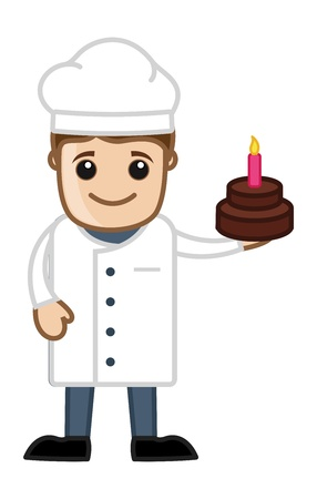 Chef Presenting Birthday Cake - Cartoon Business Vector Character Vector